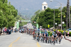 The peloton during stage 3 of the 2013 Tour of California bike race passing through Ojai, California.