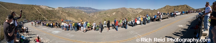 Fans gather at the summit of at category 4, 12% climb up  Balcom Canyon during stage 6 of the 2007 Tour of California.
