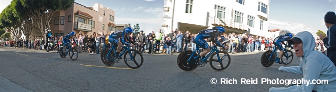 Five image composite of Levi Leipheimer riding to his victory during the prologue stage of the 2006 Tour of California in San Francisco, California.