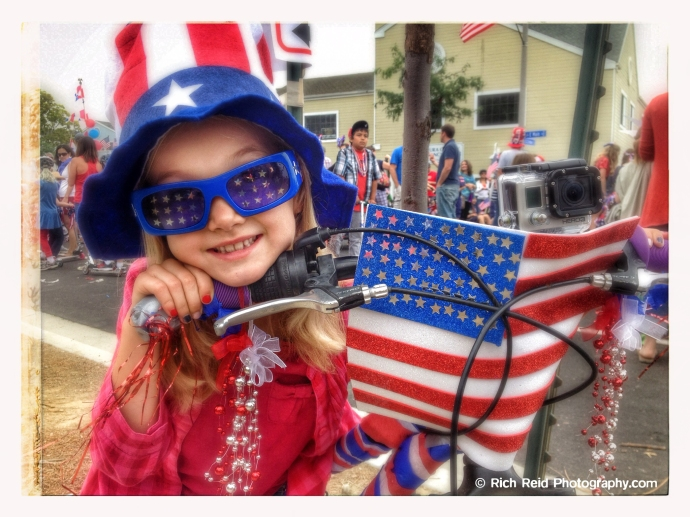 #3 Fourth of July patriotic girl in the Push and Pull Parade in Ventura, California.