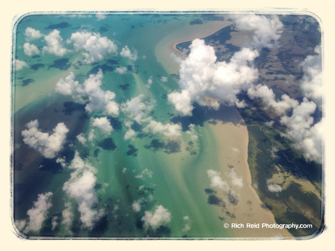 Aerial of clouds over the Everglades in Florida.