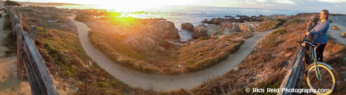 Panorama of sunset over the Asilomar Coastal Trail in Pacific Grove, California.