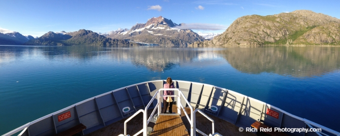 Panorama from the National Geographic Sea Lion bow and the Fairweather Range in Glacier Bay National Park and Preserve, Alaska.
