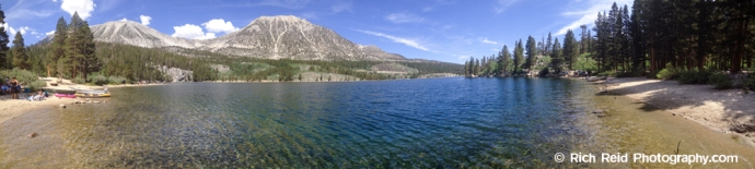Panorama of Rock Creek Lake in the Eastern Sierras, California.