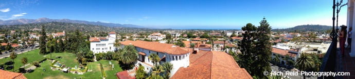 Panorama of the Santa Barbara from the Courthouse Observation Tower in Santa Barbara, California.