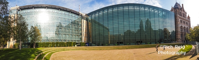 Pano of the Darwin Center and courtyard at the Natural History Museum in London, UK.