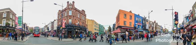 Panorama of Camden High Street at Camden Town in London, UK.