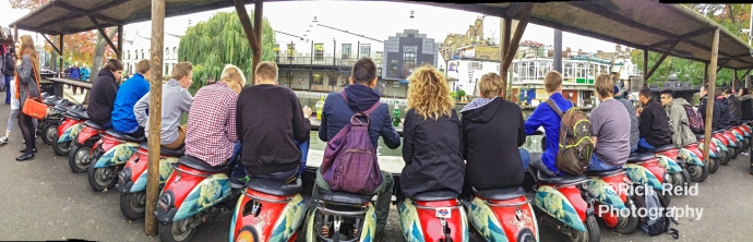 Panorama of Vespe seats at an eatery in Camden Lock in London, UK.