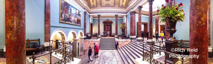 Panorama of the Interior of the National Gallery in London, UK.