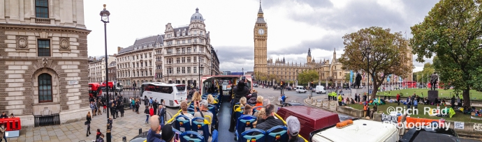 Panorama from a double decker bus of the Parliment on Great George Street in London, UK.