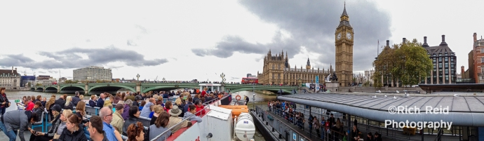 Panorama from a river boat on the Thames of the Big Ben and Parliment in London, UK.