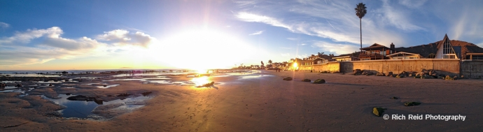 Panorama of the sunset on Mondos Beach near Ventura, California.