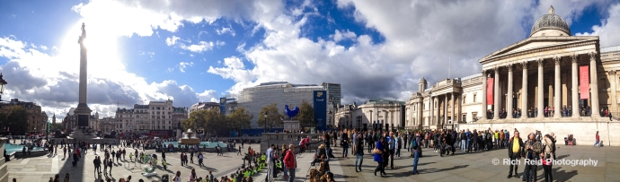 Panorama of the National Gallery in Trafalgar Square in London, England.
