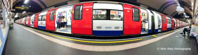 Panorama of the London Undergroud train at an empty station in London, England.
