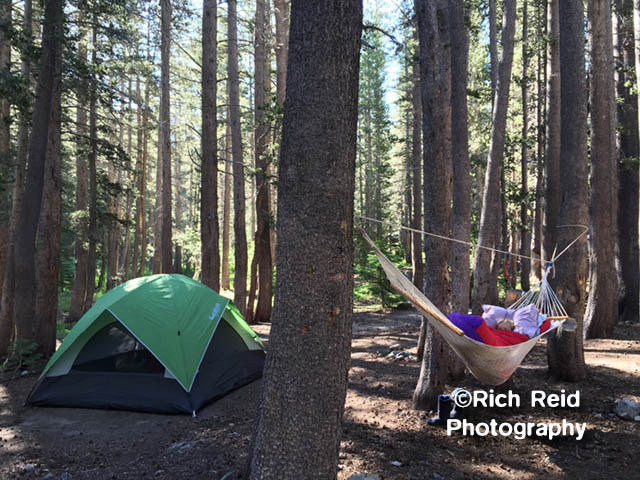 DO KNOT DISTURB. Camping at Coldwater Creek at Mammoth Lakes, California.