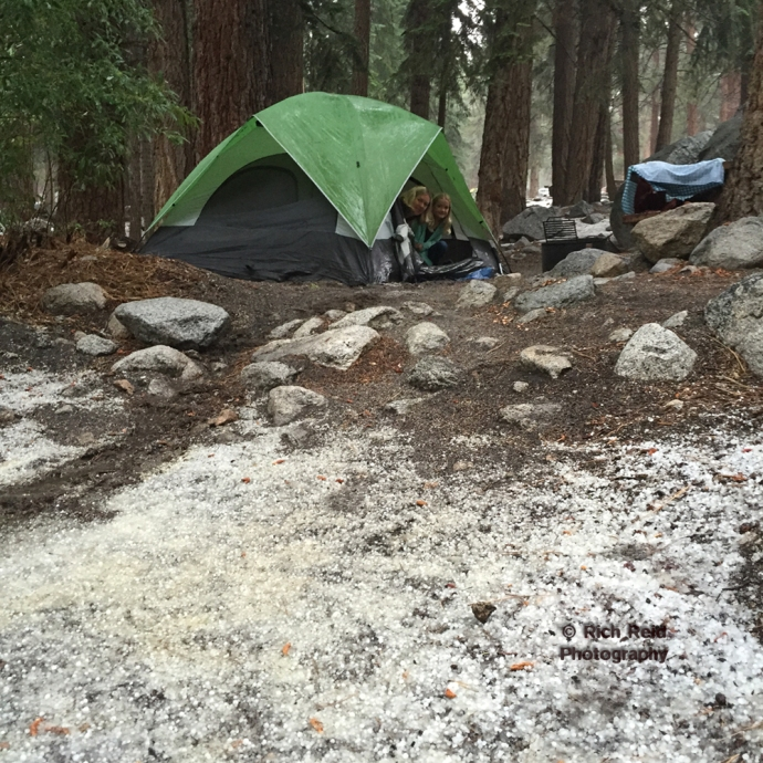 HAIL YES. Hail at the Whitney Portal Campground in July.